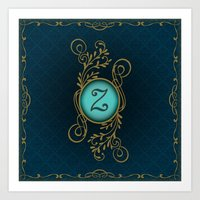 monogram Art Prints featuring Monogram Z by Britta Glodde