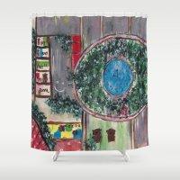 wonderland Shower Curtains featuring Wonderland by Shereen Yap