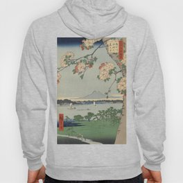 Cherry Blossoms on Spring River Ukiyo-e Japanese Art Hoody