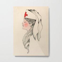 Vintage Tattoo Army Nurse Design Metal Print