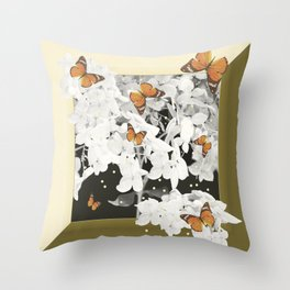 Hydrangea And Butterflies in Frame #decor #society6 #buyart Throw Pillow