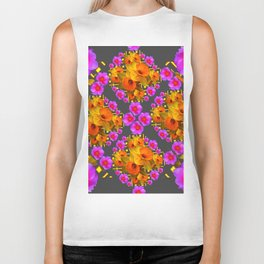 Hot Pink Roses Golden Daffodils Dark Grey Art Biker Tank