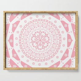 Dusky Pink Frosted Flower Mandala Serving Tray