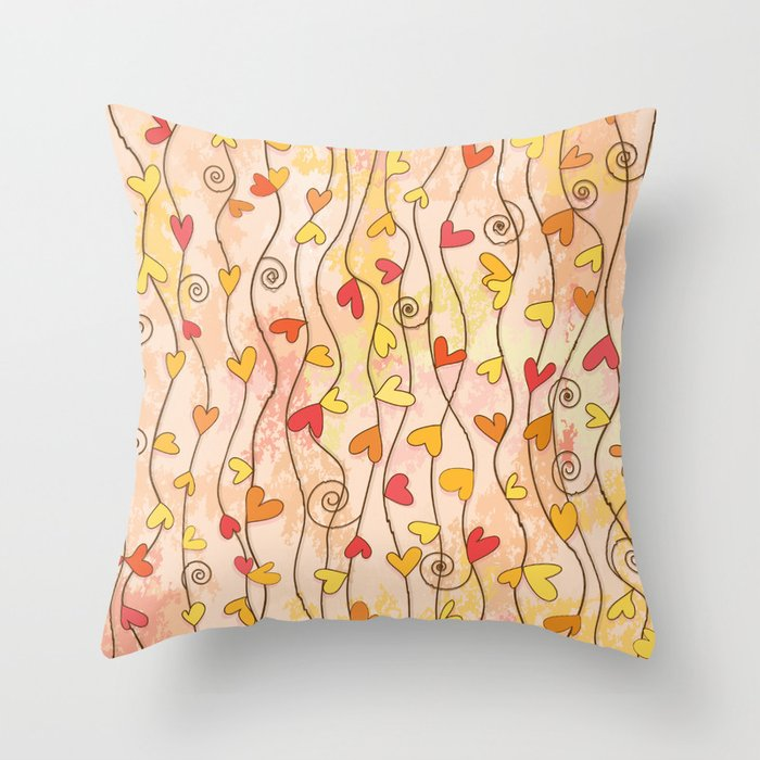 Heart and Spiral Botanic Pattern III - Fall Love Throw Pillow