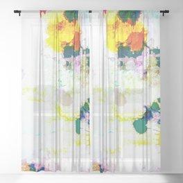 Abstract Paint Splatter Art Sheer Curtain