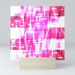 Delicate crystal pink stripes of luminous triangles and ellipse. Mini Art Print