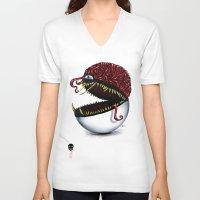 pokeball V-neck T-shirts featuring Evil pokeball  by Capadochio