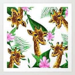 Giraffe floral pattern Art Print