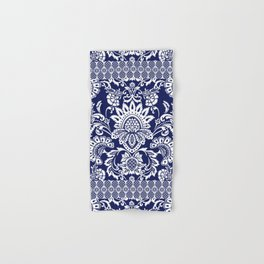 damask in white and blue Hand & Bath Towel