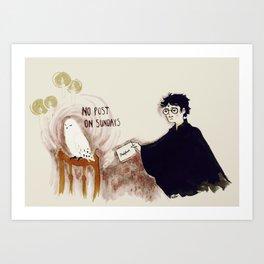 no post on sundays Art Print