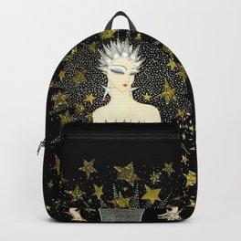 """Art Deco Sepia Illustration """"Star Studded Glamor"""" Backpack"""