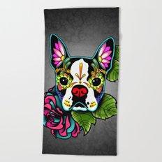 Day of the Dead Boston Terrier Sugar Skull Dog Beach Towel