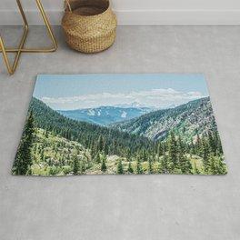 Mountain Landscape // Ski Resort Runs in Summer Epic Green Forest Wilderness Photograph Rug