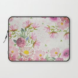 Pink Floral Drawing Laptop Sleeve