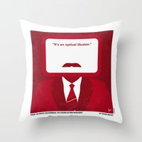 will ferrell Throw Pillows featuring No278 My Anchorman Ron Burgundy minimal movie poster by Chungkong