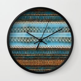 Candle Arches: Jagged/Sharp -  Blue Orange Brown Wall Clock