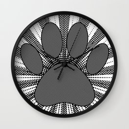 Dog Paw Print Manga Style Wall Clock