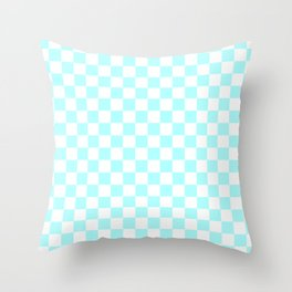 Small Checkered - White and Celeste Cyan Throw Pillow