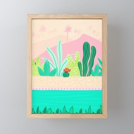 Oasis - Pink and Green Framed Mini Art Print