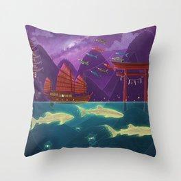 Junk Ship and Glow Sharks Throw Pillow