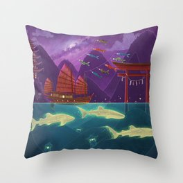 Junk Ship and Glow Sharks Throw Pillow