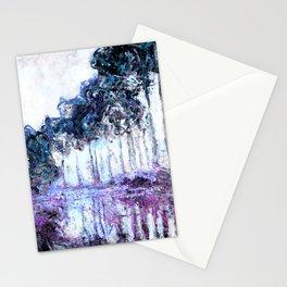 Monet : Poplars Lavender Periwinkle Deep Blue Stationery Cards