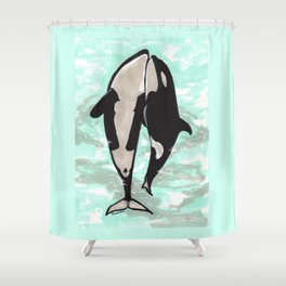 Orcas in love Shower Curtain