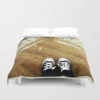 converse Duvet Covers featuring rainy day converse by winnie patterson