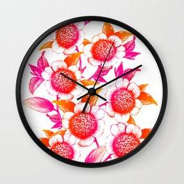Pink and Orange Flowers Elegant Pattern Wall Clock
