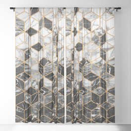 Marble Cubes - Black and White Sheer Curtain