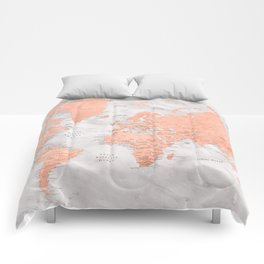 """Rose gold and marble world map with cities, """"Janine"""" Comforters"""
