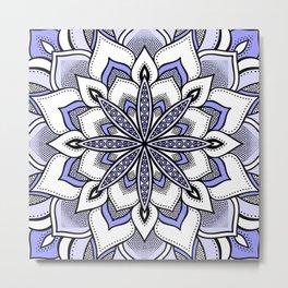 Periwinkle Flower Mandala Metal Print