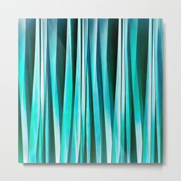 Turquoise and Cyan Ocean Stripy Lines Pattern Metal Print