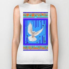 Peace Dove in Blue Ornate Art Pattern Biker Tank