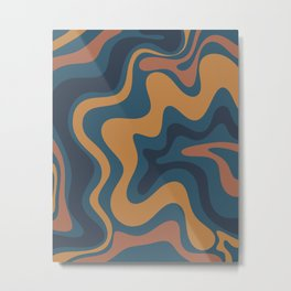 Liquid Swirl Abstract Pattern Ochre Blue Metal Print