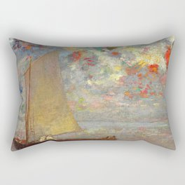 """Odilon Redon """"La Barque Aux Deux Femmes Blanches"""" Rectangular Pillow"""