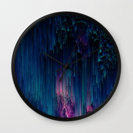 Glitchy Night - Abstract Pixel Art Wall Clock