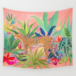 Leopard in Succulent Garden Wall Tapestry