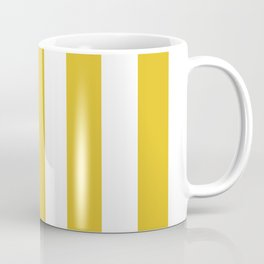 Durian Yellow - solid color - white vertical lines pattern Coffee Mug