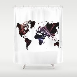 Fractal world map Shower Curtain