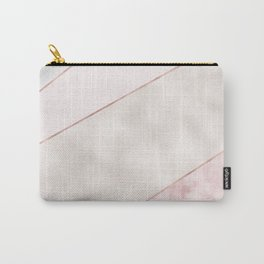 Spliced mixed pink marble and rose gold Carry-All Pouch
