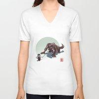 kiki V-neck T-shirts featuring Kiki le petit loup by Alexandre Guillaume