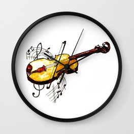Yellow violin and notes Wall Clock