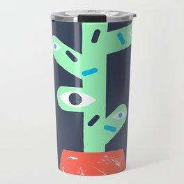 Green cactus with red pot. Travel Mug
