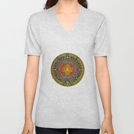 Aztec Sun God Unisex V-Neck