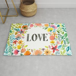 Watercolor flowers, LOVE Rug