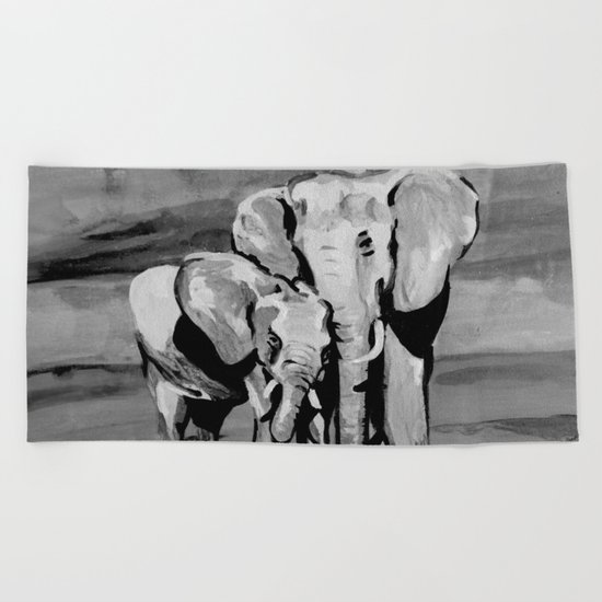 Black and white mother and baby elephant Beach Towel