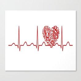 Math Teacher Heartbeat Canvas Print