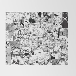 angry bakugou collage Throw Blanket