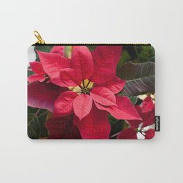 Red and Green Poinsettia Photography Print Carry-All Pouch